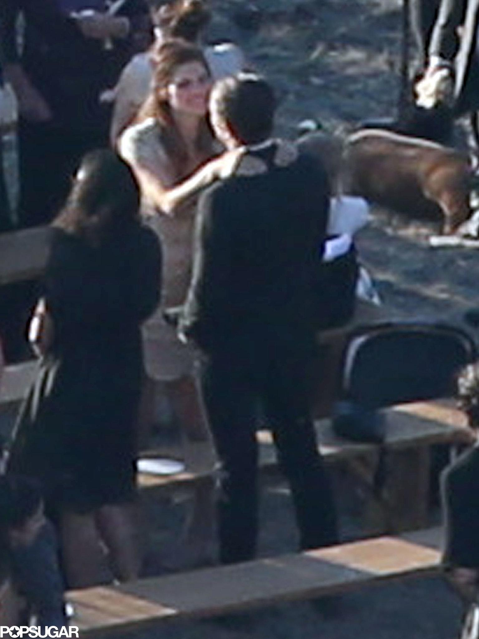 Lake Bell gave her husband a hug after Kate Bosworth's wedding ceremony.