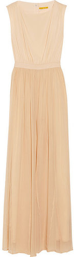 Alice + Olivia Leather-trimmed silk-chiffon maxi dress