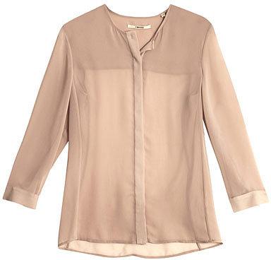 J Brand Juliette collarless sheer blouse