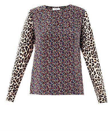 Equipment Contrast-print silk blouse