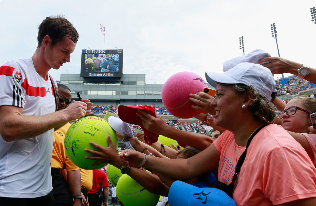Andy Murray took some time to sign autographs during the US Open.