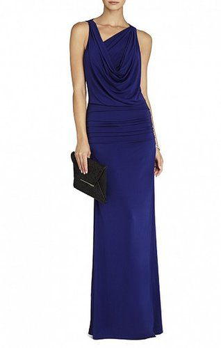 BCBG NICOLE DRAPED-NECK FLOOR LENGTH DRESS PURPLE