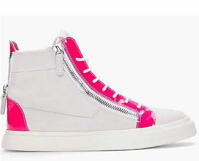 GIUSEPPE ZANOTTI WHITE PINK SUEDE LONDON DONNA SNEAKERS