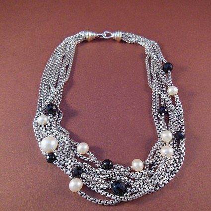 "excellent (EX) David Yurman Sterling & 18K Gold 16"" Black Onyx and Pearl 8-Row Confetti Necklace"