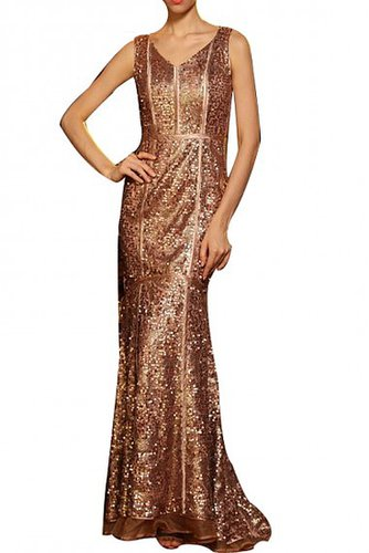 BCBG SLEEVELESS V-NECK SLIM EVENING DRESS COFFEE
