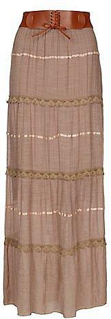 Cameo Rose Truffle Crochet Insert Maxi Skirt