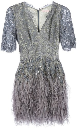 Matthew Williamson floral lace feathered dress