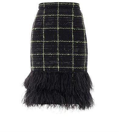 Erdem Aysha feather tweed skirt