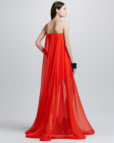 Alexis Miranda Strapless Sheer-Skirt Maxi Dress