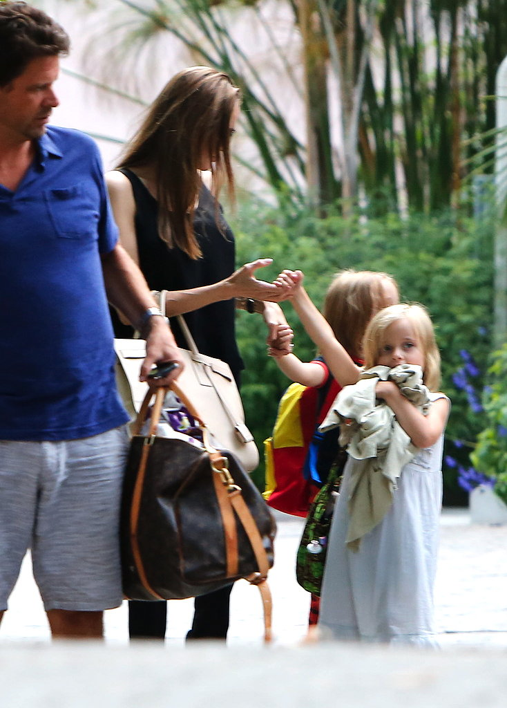 Angelina Jolie held the hands of Knox and Vivienne as they walked in Santa Barbara.