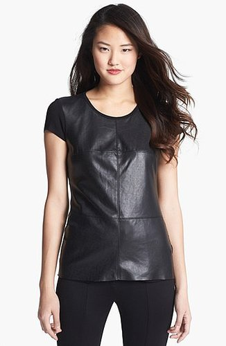 Vince Camuto Faux Leather Front Tee (Regular & Petite)