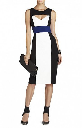 BCBG ANTONELLA COLOR-BLOCKED SHEATH DRESS