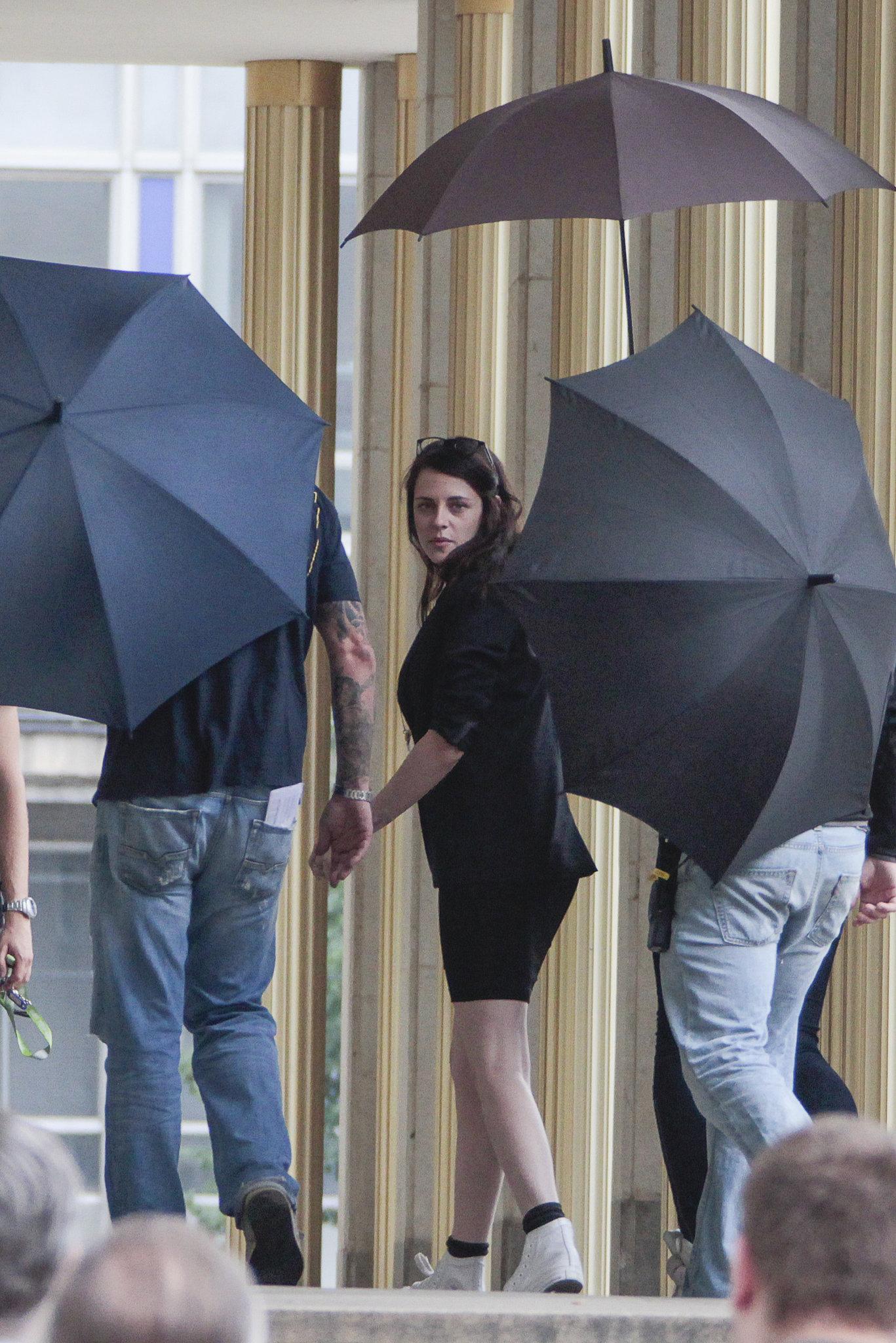 Kristen Stewart wore an all-black ensemble on set in Berlin.