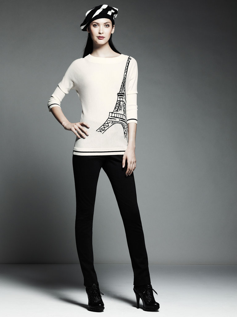 Printed Eiffel Tower Pullover Sweater ($58), Ponte Pants ($54) Photo courtesy of Kohl's