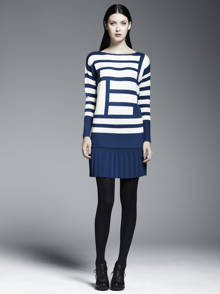 Asymmetrical Striped Pullover Sweater ($68), Pleated Skirt ($50) Photo courtesy of Kohl's