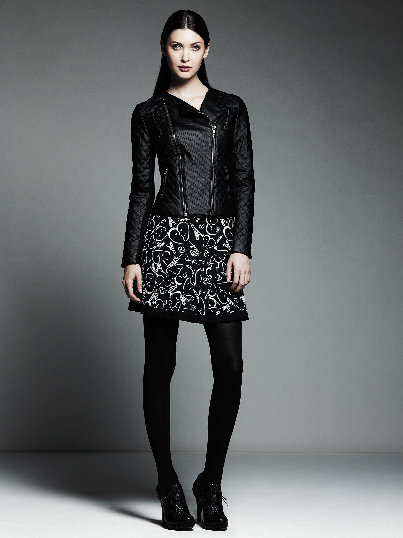 Quilted Motorcycle Jacket ($120), Printed Elastic Band Pleated Skirt ($54) Photo courtesy of Kohl's