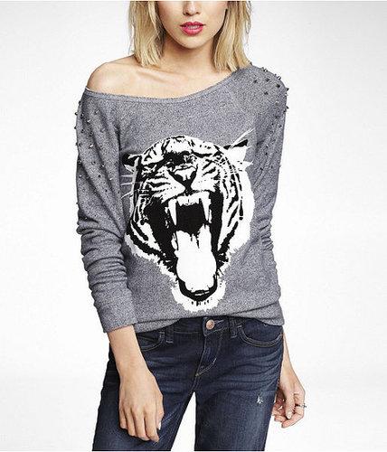 Studded Graphic Sweatshirt - Tiger