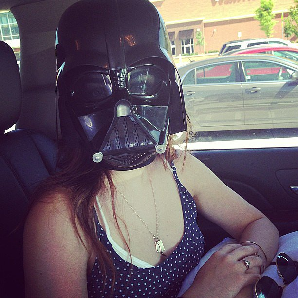 Lucy Hale showed off her new Walmart purchase —a Darth Vader mask. Source: Instagram user lucyhale
