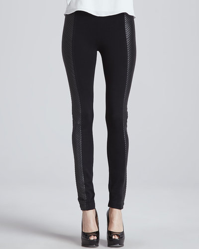 BCBG Ponte/Faux-Leather Leggings