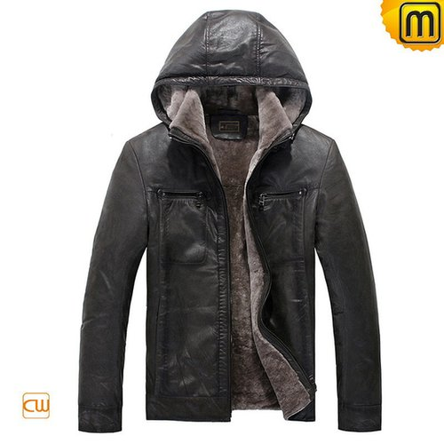 Mens Hooded Fur Leather Jacket CW829676