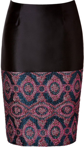Prabal Gurung Pencil Skirt with Brocade Paneling Pink/Blue