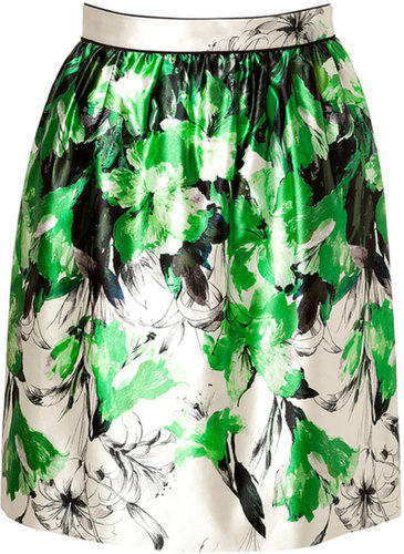 Prabal Gurung Silk-Cotton Gathered Skirt in Green/White