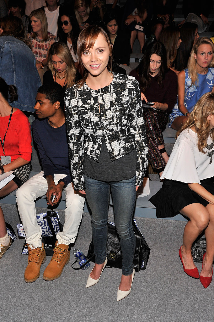 At Richard Chai's Spring 2014 show, Christina Ricci went part casual, part fancy in skinny jeans, a black-and-white jacket, and off-white pumps.