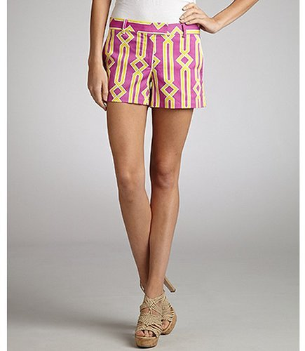 JB by Julie Brown pink and yellow stretch cotton 'Fences' printed shorts