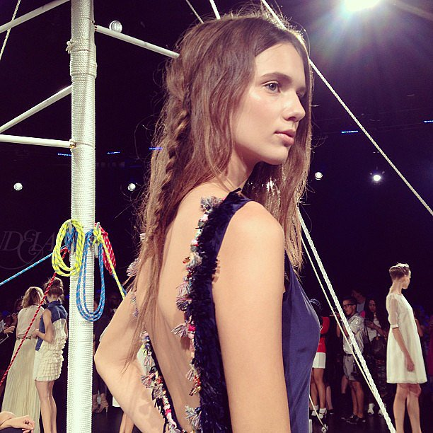 The hair at the Candela presentation was a bohemian style with an unexpected braid thrown in the mix.