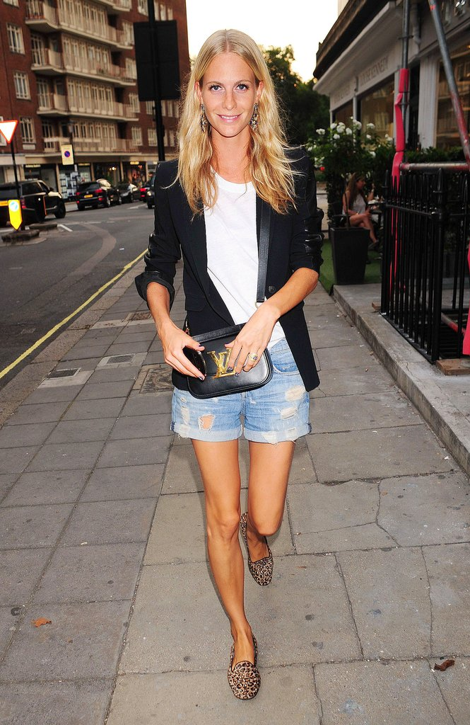Denim cut-offs and a black blazer are a model's off-duty uniform, just ask Poppy Delevingne.