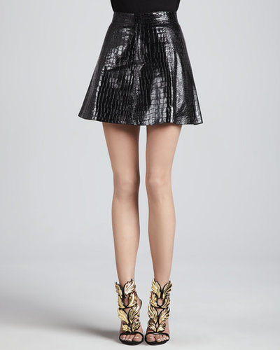 Alexis Hayes Crocodile-Embossed Skirt