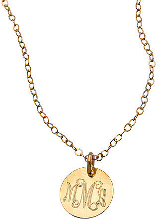 Miriam Merenfeld Gold Mini Monogram Pendant Necklace