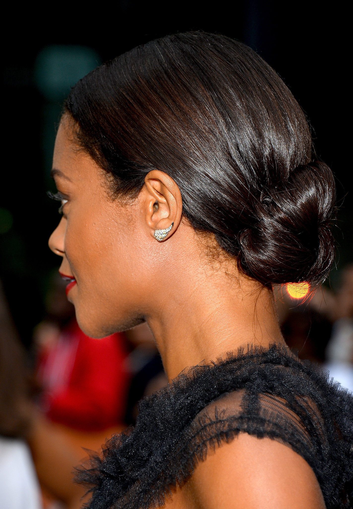 Naomie Harris's polished bun completed her elegant Mandela: Long Walk to Freedom premiere beauty look.