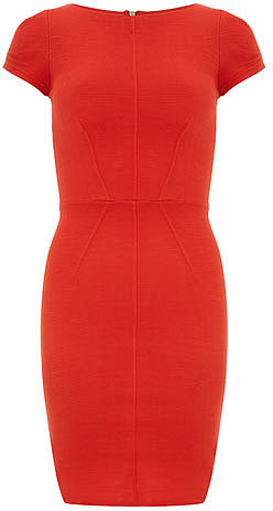 Red ribbed bodycon dress