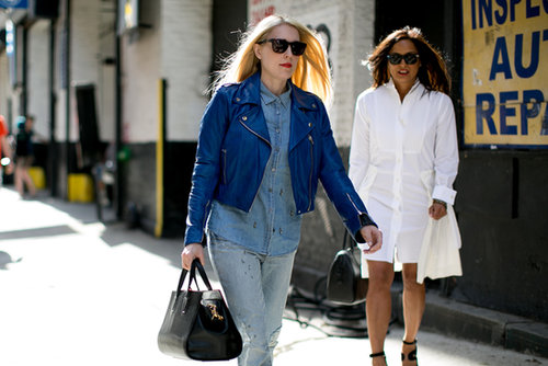 We're always suckers for a little denim on denim, Westward Leaning shades, and a great Alexander Wang bag.