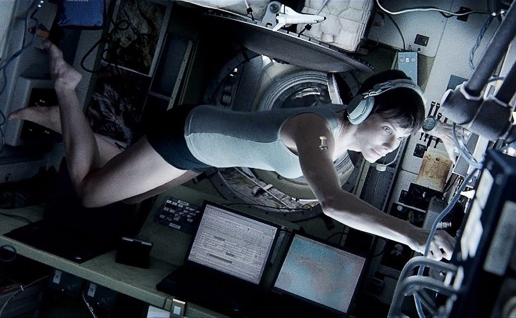 Gravity George Clooney and Sandra Bullock's astronaut characters get lost in space when their craft gets destroyed by debris, and don't worry — these two have enough charisma to keep you entertained even when it's just the two of them. Admittedly, Clooney feels like he's just playing himself, but Bullock brings an emotional core to the thriller. However, the real star here is the visual effects. Director Alfonso Cuarón has created a dazzling setting in a film that takes your breath away — both in awe and because you're holding your breath because the movie is so nerve-racking.