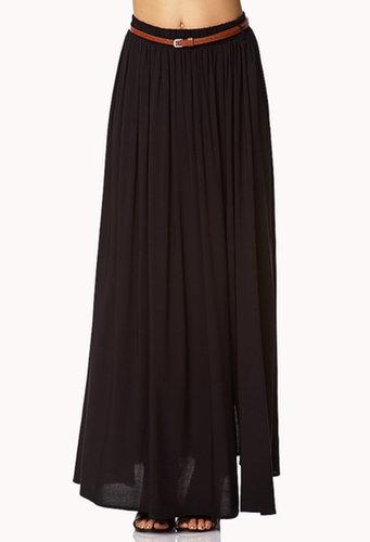 FOREVER 21 Front Slit Maxi Skirt w/ Belt
