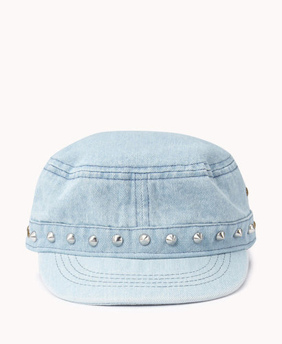 FOREVER 21 Studded Denim Military Cap