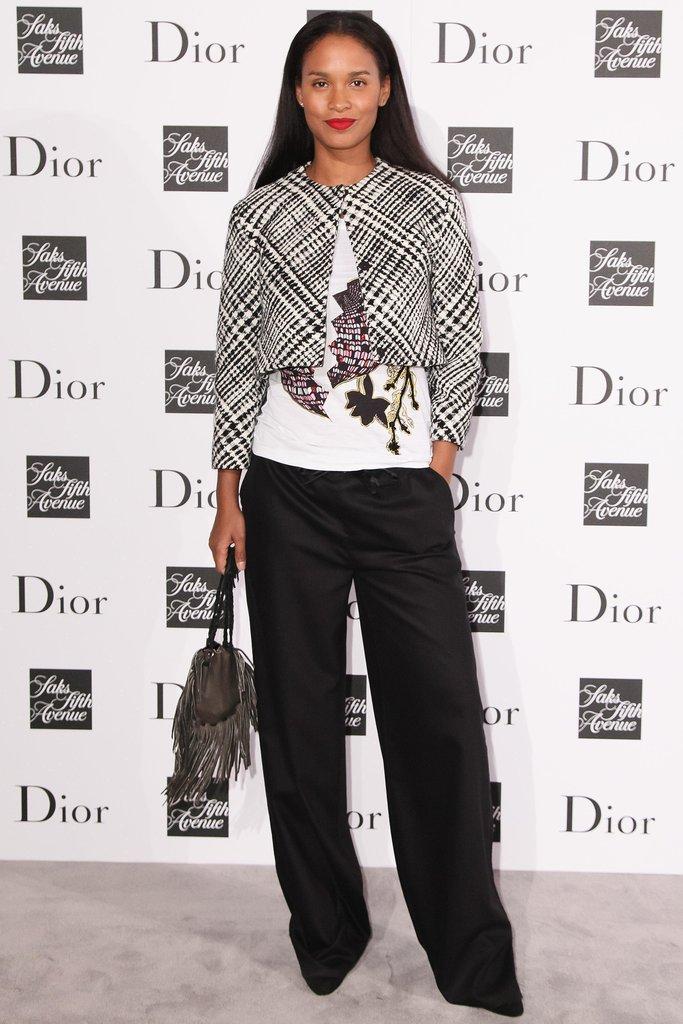 Joy Bryant in Black and White Dior Jacket