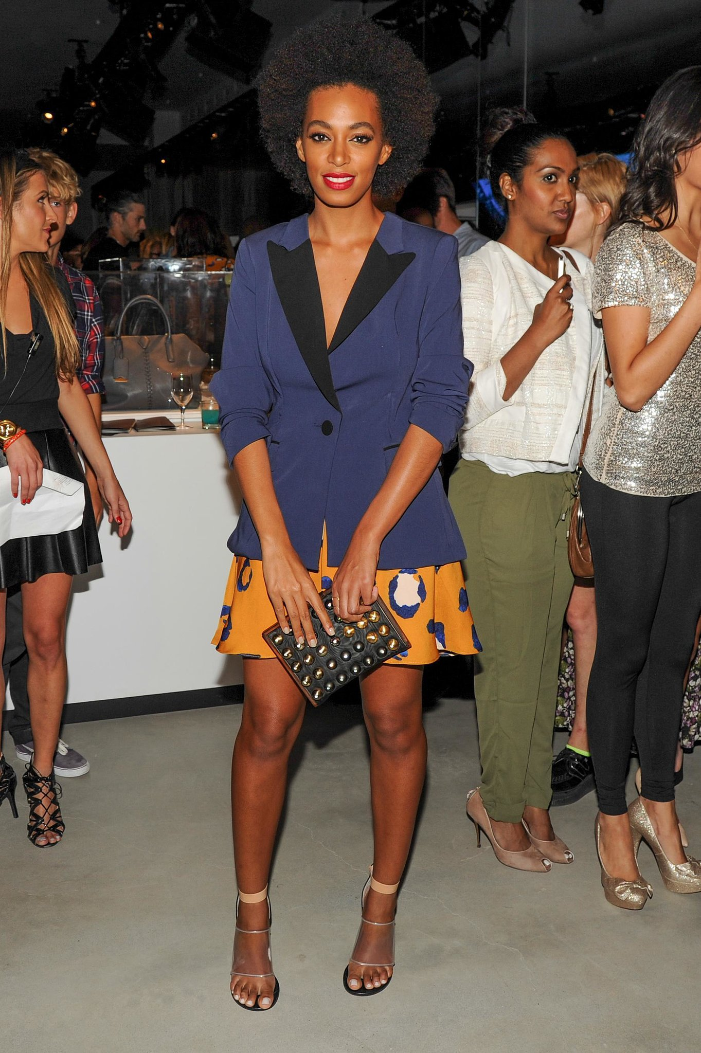 Solange Knowles also attended the Phillip Lim for Target launch party in NYC. She paired a two-toned tuxedo blazer with a leopard skirt for a fun and flirty look.