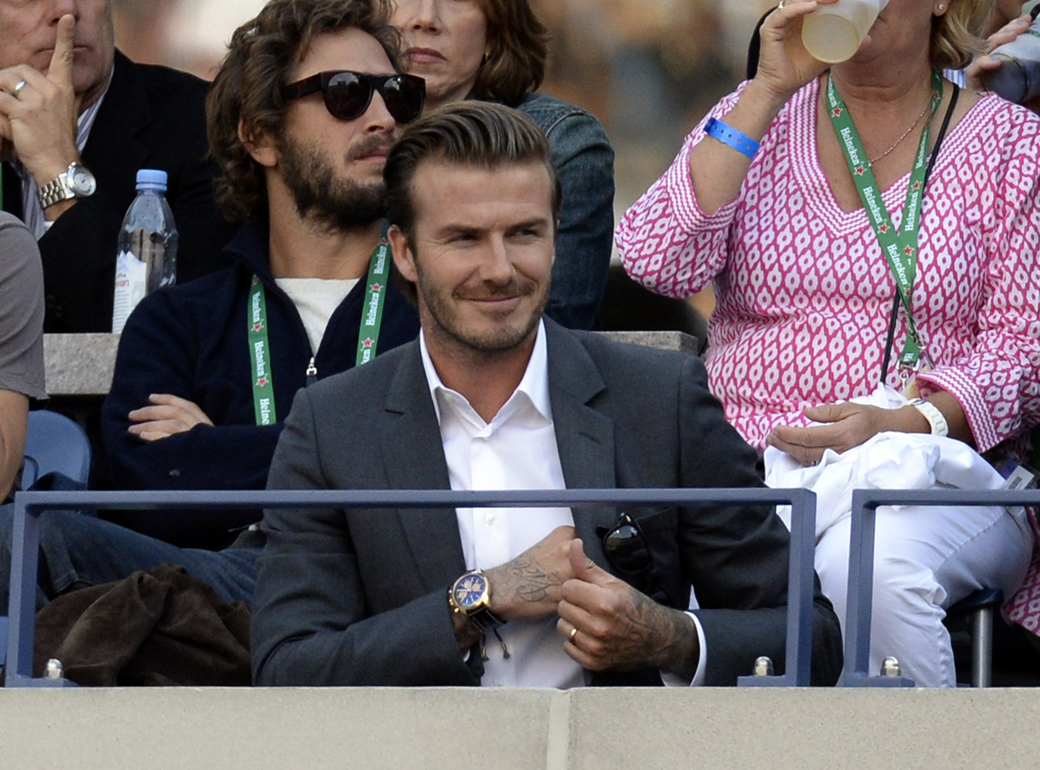 David Beckham sported a dapper suit for the US Open.