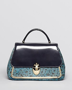 Tory Burch Satchel - Runway Boxcalf Mix Scarab Top Handle