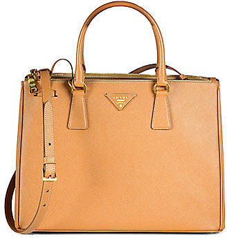 Saffiano Medium Double Zip Top Handle Bag