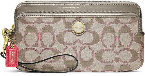 Coach Poppy Signature Sateen Metallic Double Zip Wallet