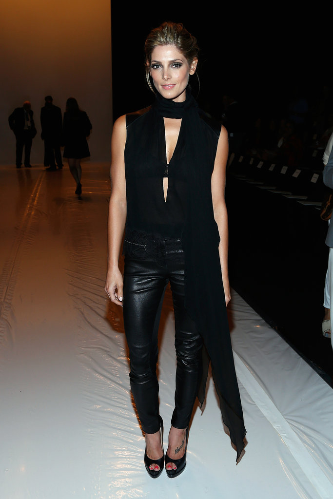 Ashley Greene edged up her look in black leather pants and a cool asymmetrical top at Kaufmanfranco.