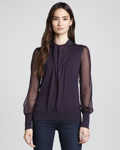 Tory Burch Abitha Knit/Silk Sweater, Plum