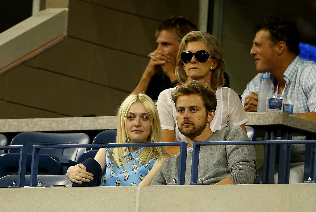 Dakota Fanning was adorable in a printed collared blouse at the US Open.