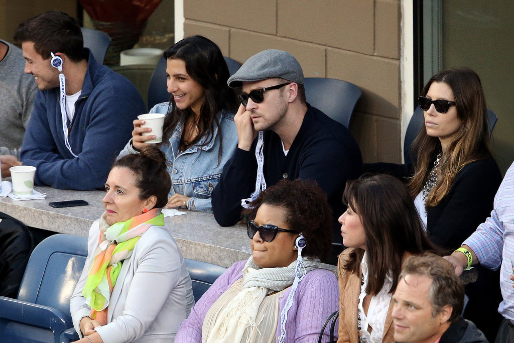Jessica Biel and Justin Timberlake took in the US Open in black pieces. Jessica toughened up her white t-shirt with a silver chain necklace and black sunglasses.