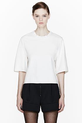 3.1 PHILLIP LIM Ivory Cropped Silk Bind T-Shirt