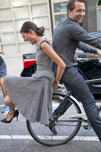 Giovanna Battaglia hitched a ride with Derek Blasberg.
